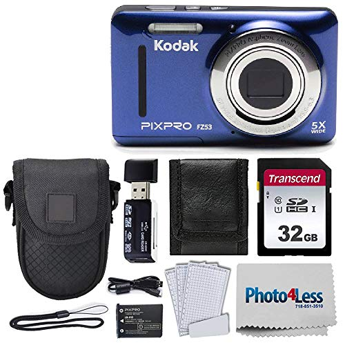 Kodak PIXPRO FZ53 16.15MP Digital Camera (Blue) + Black Point & Shoot Case + Transcend 32GB UHS-I U1 SD Memory Card & More!