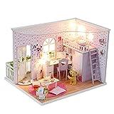 Bois Block Dollhouse Mini Maison DIY Maison Creative Chambre Creative Chambre Créative avec mobilier et Couché Romantique Saint Valentin Meilleur Cadeau (Couleur: Multicolore, Taille: 24 * 21 * 18cm)
