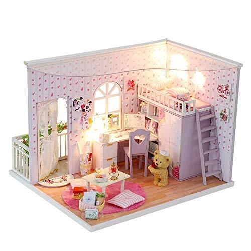 NBVCX Mechanische Teile Miniatur DIY Haus Kit für romantische Valentinstag Festival Bestes Geschenk Puppenhaus Miniatur DIY Haus Kit Kreative Zimmer mit Möbel und Abdeckung Modellmöbel
