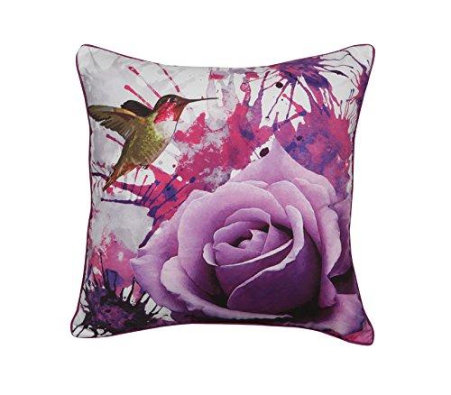 Cojín decorativo de calidad retro vintage, cojín de sofá, cuadrado de 40,6 x 40,6 cm [pájaro y rosa]