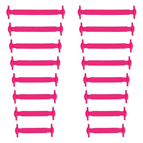 Xunits Elastische Silikon Schnürsenkel neon-rosa, flach Schleifenlose Schuhbänder in 13 (neon) für Kinder & Erwachsene