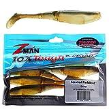 Z-Man SPT5-54PK5 Elaztech Paddlerz Scented Swimbait, 5', Shiner, 5/Pack