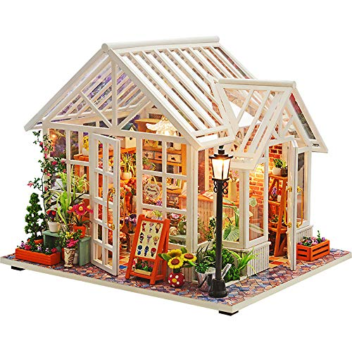 WYD Green Dollhouse Miniature Wooden DIY Dollhouse Kit Architecture Models with LED Lights and Furniture Creative Room for Birthday Idea