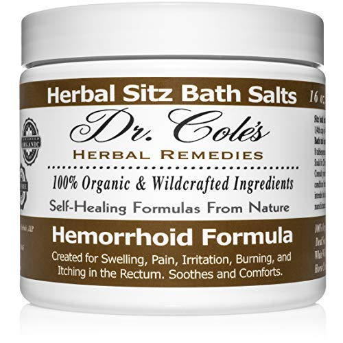 Dr. Cole's Hemorrhoid Sitz Bath Treatment: Organic, Herbal Bath Salts That Soothe Itching, Swelling and Pain Related to Hemorrhoids. Safe for All Ages. for Use in Small Sitz Bath Tub