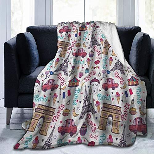 HARXISE Couverture de Jet en Molleton Doux,Paris Elégant Arc de Triomphe Tour Célèbre De Nombreux Symboles de la Ville d'amour Kiss Rose,hôtel lit canapé couvertures pour Couples Adultes 127x102cm