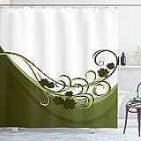 ABAKUHAUS olivgrün Duschvorhang, Hochzeit Inspired, Wasser Blickdicht inkl.12 Ringe Langhaltig Bakterie & Schimmel Resistent, 175 x 180 cm, Hellgrün Weiß
