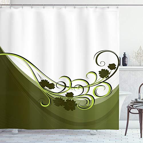 ABAKUHAUS olivgrün Duschvorhang, Hochzeit inspiriert, mit 12 Ringe Set Wasserdicht Stielvoll Modern Farbfest & Schimmel Resistent, 175x200 cm, Hellgrün Weiß &