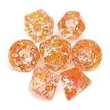 SSSSY Dados de Resina Set Dados de dragón poliédrico para D & D Dungeons RolPeaying Dice Games (Color : Orange Pink)
