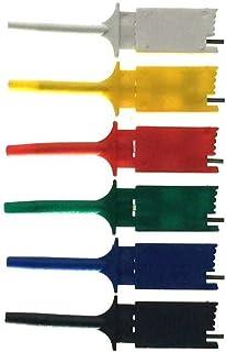 ICクリップ グラバークリップ テストクリップ 6色セット ロジック・アナライザ用 2.54mmピッチ ピンヘッダ・ジャンパーワイヤー メス接続用