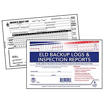 ELD Backup Driver Log Book 5-pk with Detailed Driver Vehicle Inspection Report & Daily Recap - Book Format 2-Ply Carbonless 8.5  x 5.5  10 Sets of Forms Per Book - J J Keller & Associates