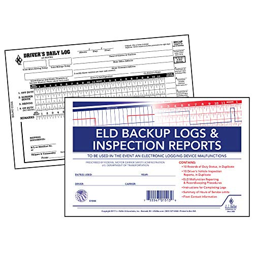 ELD Backup Driver Log Book 5-pk. with Detailed Driver Vehicle Inspection Report & Daily Recap - Book Format, 2-Ply Carbonless, 8.5