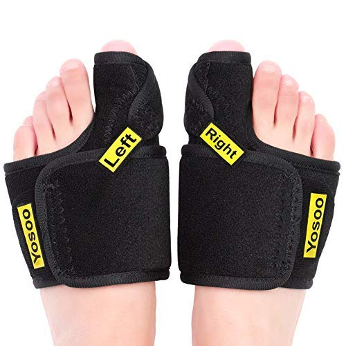 Bunion Corrector, Night Sleep Bunion Relief Protector Big Toe Straightener with Metal Splint Support and Adjustable Strap for Hallux Valgus, Hammer Toe, Bunion Surgery Treatment (Pair)