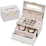 Caja de madera hecha a mano con llave oculta y extraíble Caja de almacenamiento de joyas de las mujeres - caja de joyería de múltiples capas de joyería con caja de joyería con espejo organizador de jo