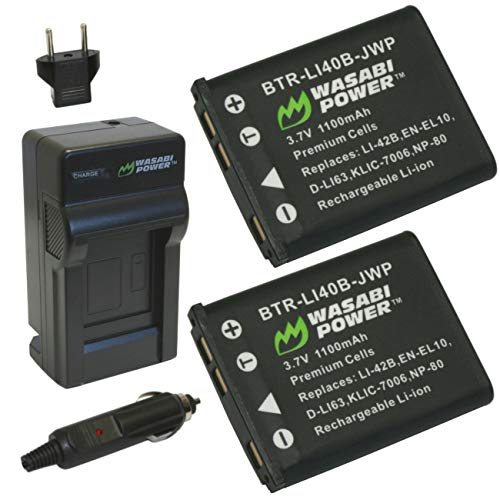 Wasabi Power Battery (2-Pack) and Charger for Fujifilm NP-45, NP-45A, NP-45B, NP-45S and Select Fuji FinePix Camera Models