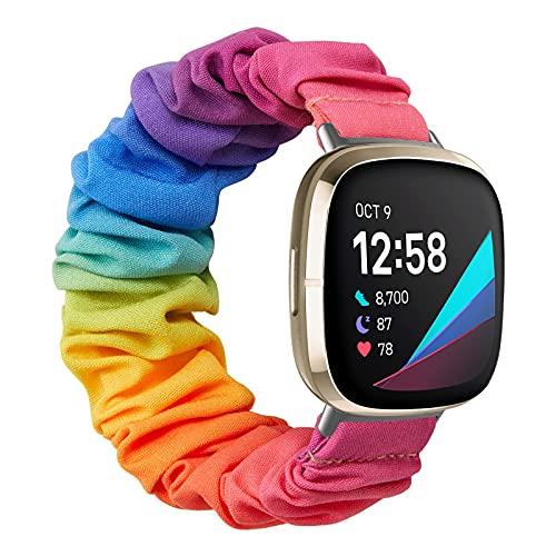 MoKo Correa Elástica para Reloj Compatible con Fitbit Versa 3 / Fitbit Sense, Reemplazo de Pulsera Ajustable Suave de Tela y Goma Elástica para Mujer Chica, S, Multicolores