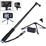 VVHOOY 43 inch Waterproof Action Camera Selfie Stick with Tripod Monopod Stand and CellPhone Holder for GOPRO HERO 6/5/XIAOMI YI/AKASO EK7000/Wewdigi/GooBang Doo/APEMAN 4K Sports Action Camera,Smartphones,and More