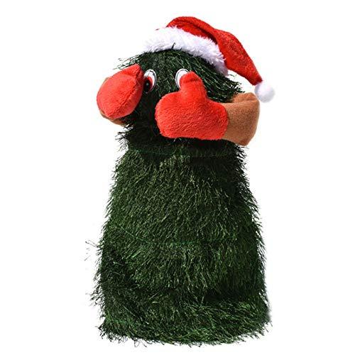 Wendao Árbol de fiesta Navidad juguete eléctrico bailando música giratoria árbol de Navidad en un sombrero de Santa