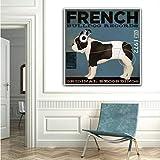 Geiqianjiumai Monopatín Lienzo Pintura Perro Labrador Bulldog Animal póster Arte de la Pared Sala de Estar Dormitorio habitación de los niños Cuadro sin Marco Pintura 50x50 cm