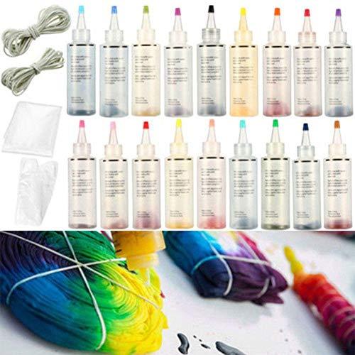 MOOHOP 18 Stück Essort Stoff Textil Farben Tie-Dye Kit Vibrant Stoff Textil Farben,Batik-Set, permanenter Batikstoff, Stofffarbe für Familie, Freunde, Kinder, lustiges Partyzubehör (18 Color)