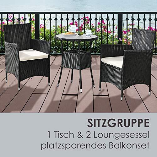 ArtLife Polyrattan Balkon Set Bayamo 2 Personen – Tisch mit Glasplatte & 2 Stühlen – Wetterfeste Balkonmöbel – Auflagen waschbar – schwarz – Creme - 6