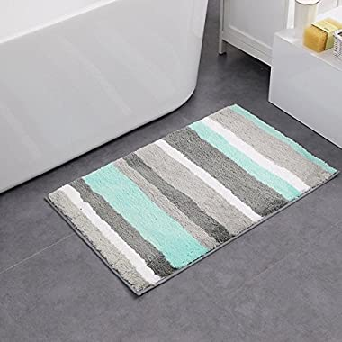 HEBE Non-slip Bathroom Rug Mat Shag Microfiber Shower Bath Rug Absorbent Bath Mat for Bathroom Machine Washable(18×26 , Blue/Grey)