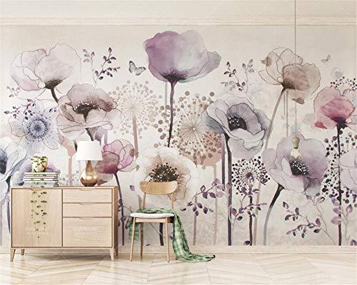 Fotobehang muurschildering aquarel handgeschilderde stijl lavendel bloem TV achtergrond muur 3d behang-250 * 175cm