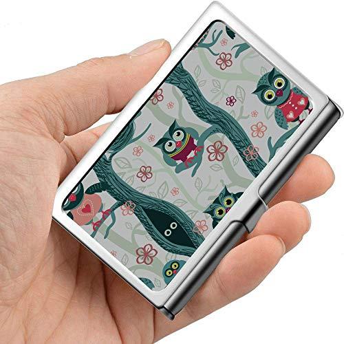 Bunter netter Karikatur-Pyjama-Malerei-Visitenkarte-Halter-Damen-Visitenkarte-Halter-Berufsmetall 3,81 x 2,7 x 0,29 Zoll Designer-Visitenkarte-Kasten