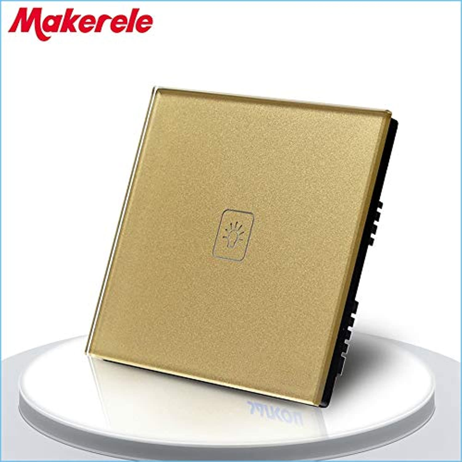 UK Standard Touch Switch 1 Gang 1 Way gold Crystal Glass Panel,Light Switch,Touch Screen Wall Switch,Wall Socket for lamp