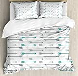 Ambesonne Teal Duvet Cover Set, Retro Arrow Pattern in Horizontal Line Heading to Opposite Directions Art Print, Decorative 3 Piece Bedding Set with 2 Pillow Shams, Queen Size, Grey Teal