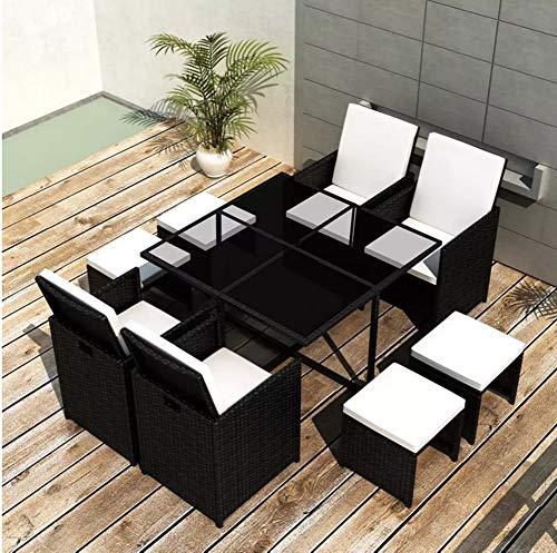 Set di mobili da giardino in rattan, sedie imbottite con fodera rimovibile per giardino, terrazza, patio, va, 1 tavolo + 4 sedie + 4 sgabelli