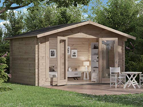Alpholz Gartenhaus Mirko Modern aus Massiv-Holz | Gerätehaus mit 40 mm Wandstärke | Garten Holzhaus mit Imprägnierung (pinie) | Geräteschuppen Größe: 400 x 300cm | Satteldach