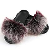 Ladies Fluffy Faux Fur Slippers Womens Soft Cozy Memory Foam EVA Slippers Open Toe Sliders Slippers for Indoor Outdoor House Shoes 4 42 43