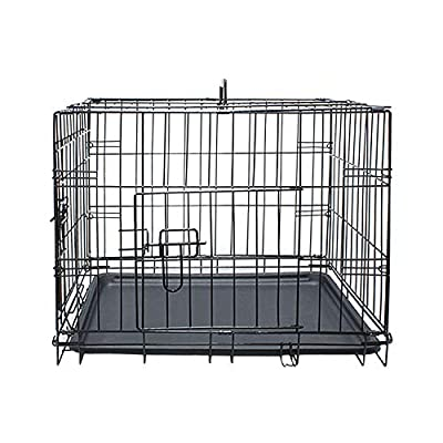 Daniel James Products Pet Cage Dog Puppy Metal Travel Training Crate Vet Cat Portable 2 Doors Carrier (Large)