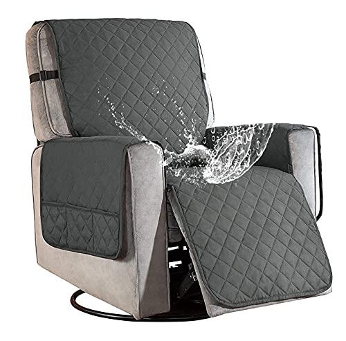 Sesselschoner für Fernsehsessel Relaxsessel, 1 Sitzer Sesselschoner mit Taschen Grau Sesselauflage Relaxsessel Sesselüberwurf Wasserdicht Sesselschutz Sofaüberwurf für Hunde Haustieren