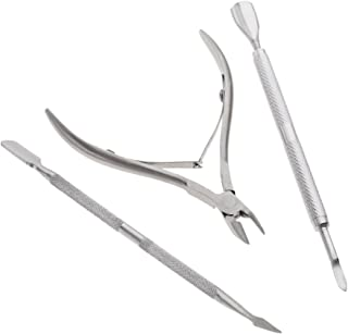 MagiDeal A Set of Stainless Steel Nail Cuticle Spoon Pusher Remover Cutter Nipper Clipper Professional Manicure Tools (3PCS)