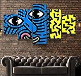 Cuadro en Lienzo 5 Pieza impresión Lienzo artística Pintura Diseño Cuadro Moderno Pared gráfica Pop Keith Haring Enmarcado