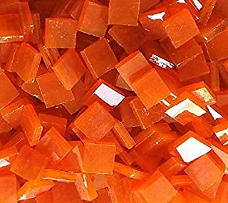 Lanyani Translucent Glass Mosaic Tiles Square Cathedral Glass Pieces for Arts and Crafts, 35oz Value Pack (Orange)