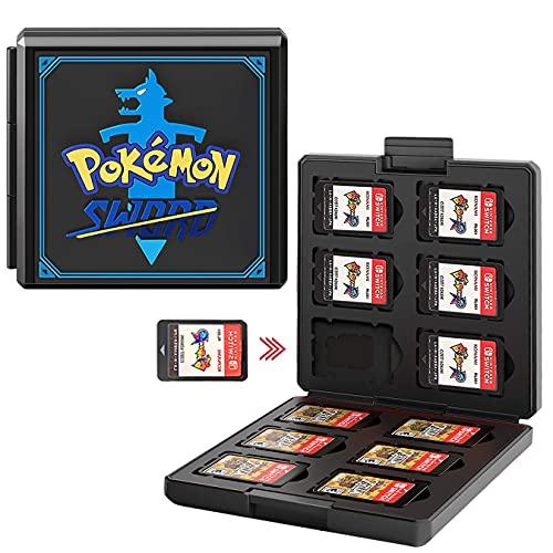Funda para Juegos Nintendo Switch - 12 Ranuras para Almacenamiento de Tarjetas de Juego y 12 Ranuras para Tarjetas SD,Portátil y Delgado,Estuche para Nintendo Switch Lite NS Juego (Black Sword)