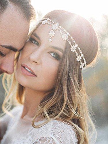 Deniferymakeup Chaîne de tête de mariage style bohème grecque avec fleur - Bijou de tête Bollywood - Doré
