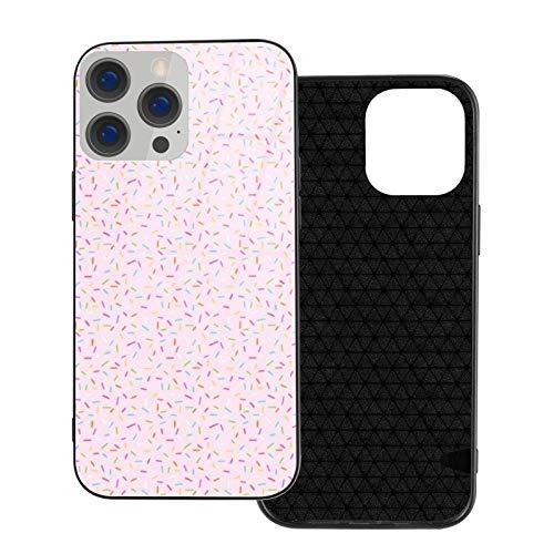 MEUYGOFLZ Funda compatible con iPhone 12 Pro Max, carcasa de cuerpo completo, carcasa de cristal TPU suave para iPhone 12 Pro Max 6.7 pulgadas, arco iris rociados sobre rosa pálido.