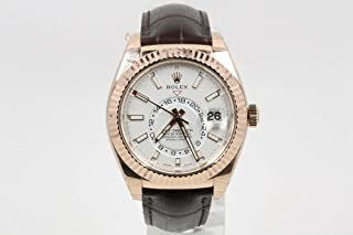 Rolex Sky-Dweller 42mm 18K Rose Gold Case Bidirectional Rotatable Bezel White Dial Brown Leather Band with 18K Rose Gold Oyster Clasp
