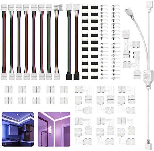 LED Light Connectors 4 Pin Led Connectors Kit for 10Mm 5050 RGB Multicolor Led Light Strip Gapless product image
