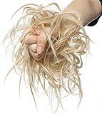 SEGO Moño Postizo Rizado Voluminoso Pelo Sintético Se Ve Natural Recogido Coletero Peinado Extensiones de Cabello Coleta Postiza Elegante para Mujer (Rubio Oscuro a Blanqueador Rubio,45g)