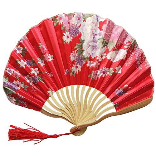 Faltbarer Handfächer Blumen Stoff Fächer Holz Geschnitzten Bambus Handheld Faltfächer Chinsesichser Japanischer Stil Sommer Party Hochzeit Faltfächer C