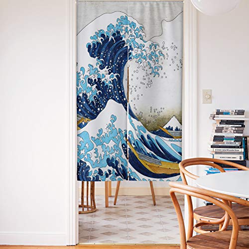 Spanker Space White Grey Modern Style The Great Waves Hokusai Artistic Japanese Noren Doorway Curtain Fabric Cotton Linen for Home Kitchen Door Decor 34x59 Inches
