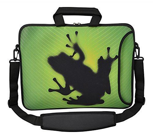 MySleeveDesign Laptoptasche Notebooktasche Umhängetasche Größe 15,6 Zoll & 17,3 Zoll - mit VERSCH. Designs - Frog [17]