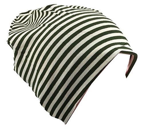 Baby Kinder Jersey Slouch Beanie Long Mütze mit Streifen Unisex Baumwolle KB21-15