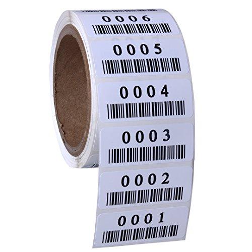 3M Polyester Label Material fortlaufend nummeriert Etiketten. Maßnahme: 6,3x 2,5cm mit Barcode (verschiedene Nummer Sequenzen erhältlich) 1501-2000