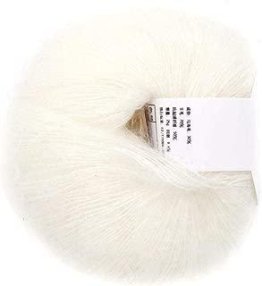Popular Multi Color Soft Mohair Fiber Long Angora Wool Hand Knitting Yarn Roving for Weave Scarves (White)