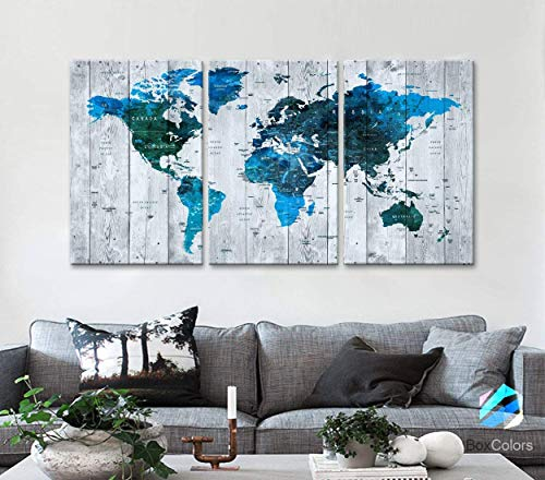 Original by BoxColors LARGE 30'x 60' 3 panels 30x20 Ea Art Canvas Print Watercolor blue green Map World Push Pin Travel Wall home office decor (framed 1.5' depth) M1813